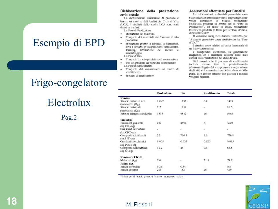 Esempio di EPD Frigo-congelatore Electrolux Pag.2 M. Fieschi