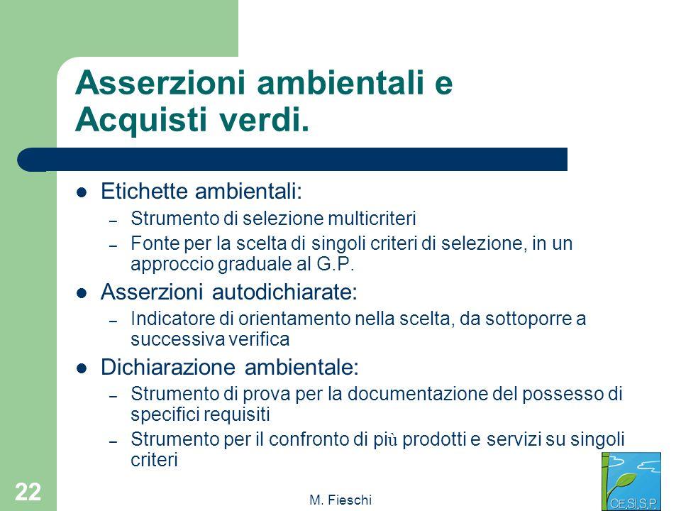 Asserzioni ambientali e Acquisti verdi.