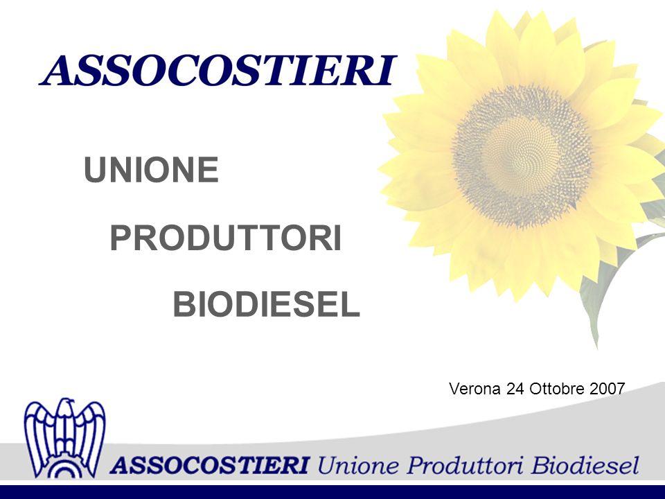 UNIONE PRODUTTORI BIODIESEL Verona 24 Ottobre 2007