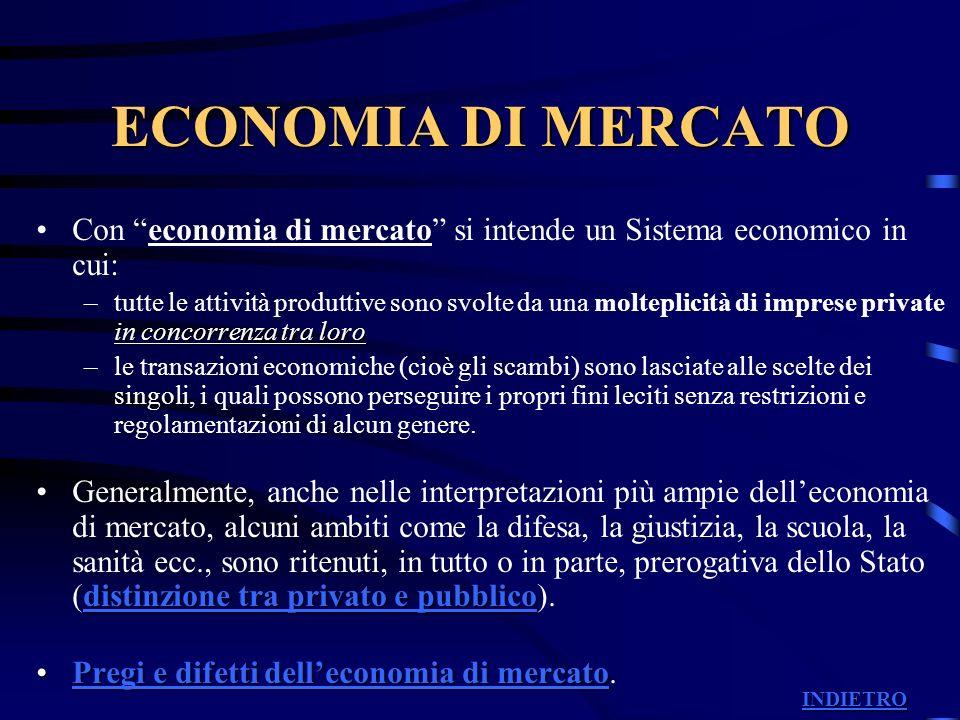 ECONOMIA DI MERCATO Con economia di mercato si intende un Sistema economico in cui:
