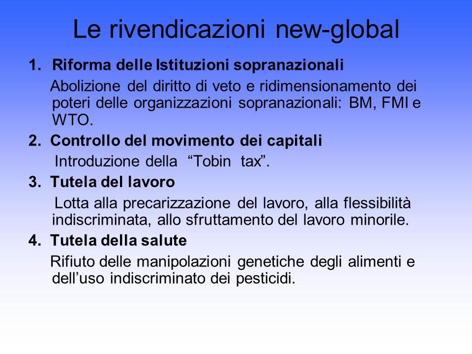 Le rivendicazioni new-global