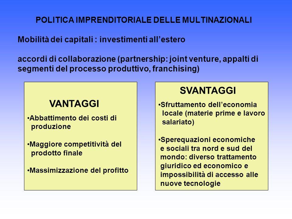 POLITICA IMPRENDITORIALE DELLE MULTINAZIONALI Mobilità dei capitali : investimenti all'estero accordi di collaborazione (partnership: joint venture, appalti di segmenti del processo produttivo, franchising)
