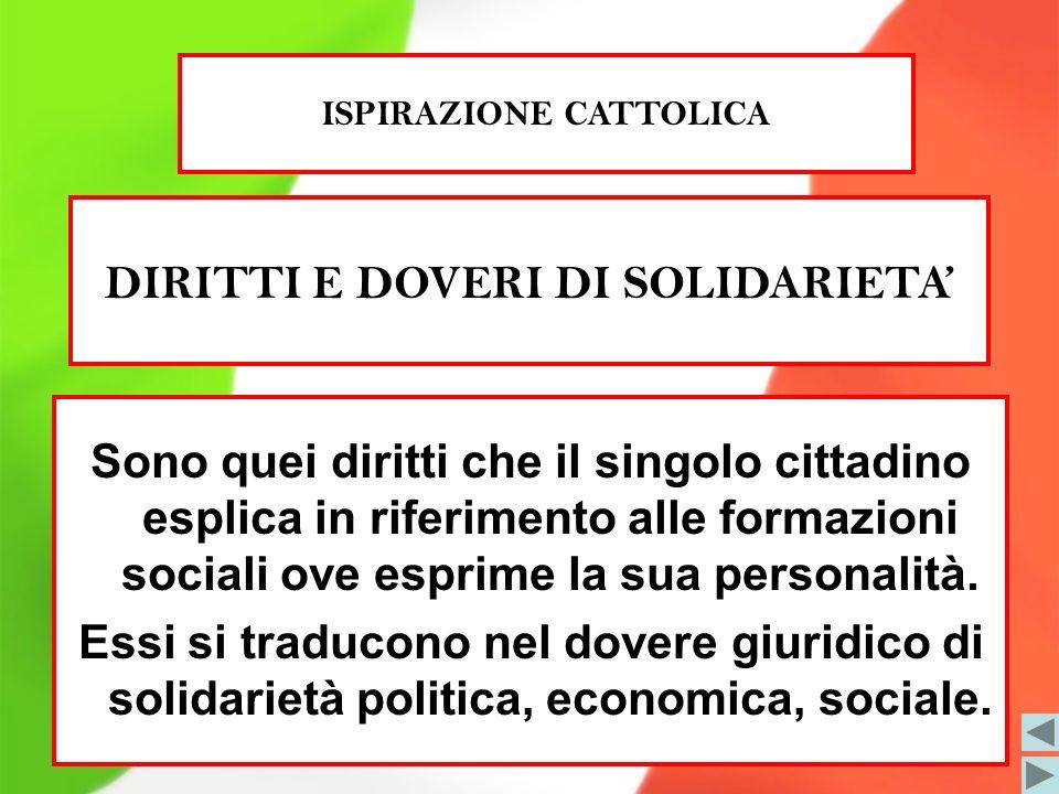 ISPIRAZIONE CATTOLICA DIRITTI E DOVERI DI SOLIDARIETA'