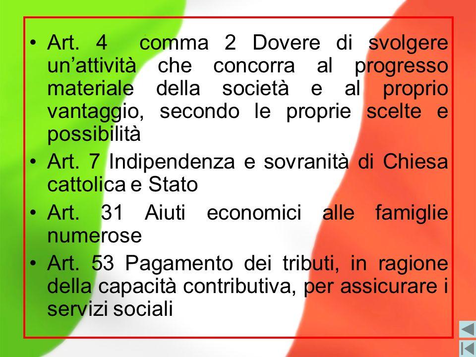 Art. 4 comma 2 Dovere di svolgere un'attività che concorra al progresso materiale della società e al proprio vantaggio, secondo le proprie scelte e possibilità