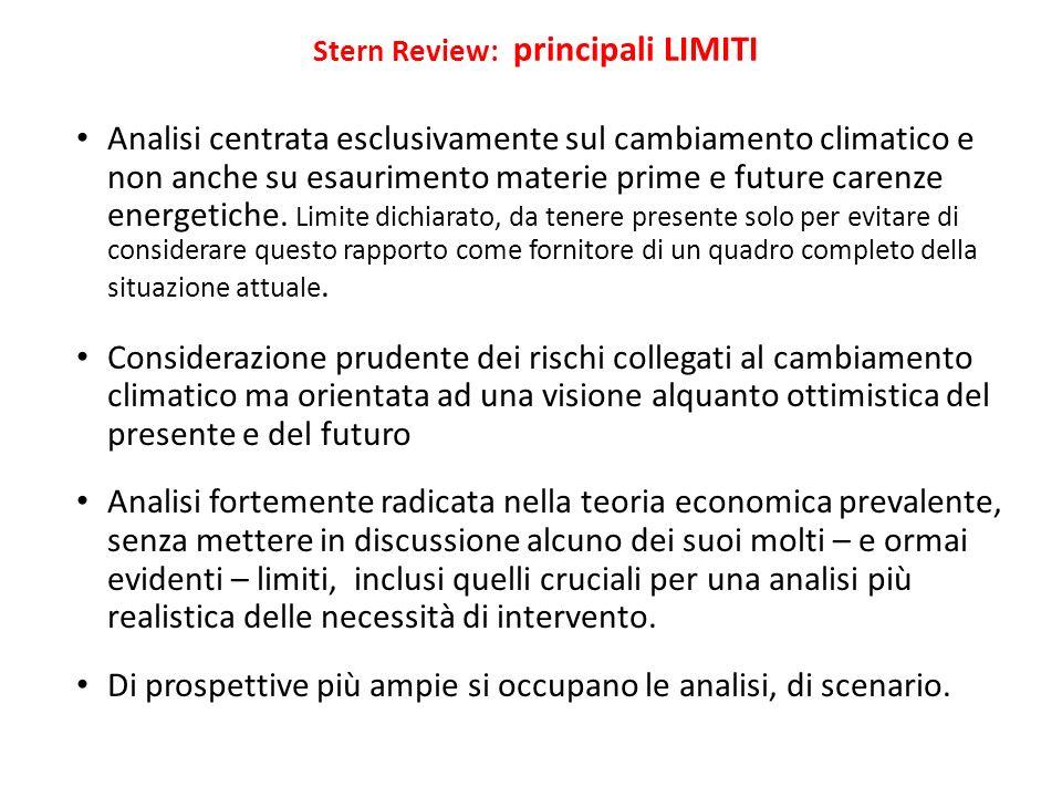 Stern Review: principali LIMITI