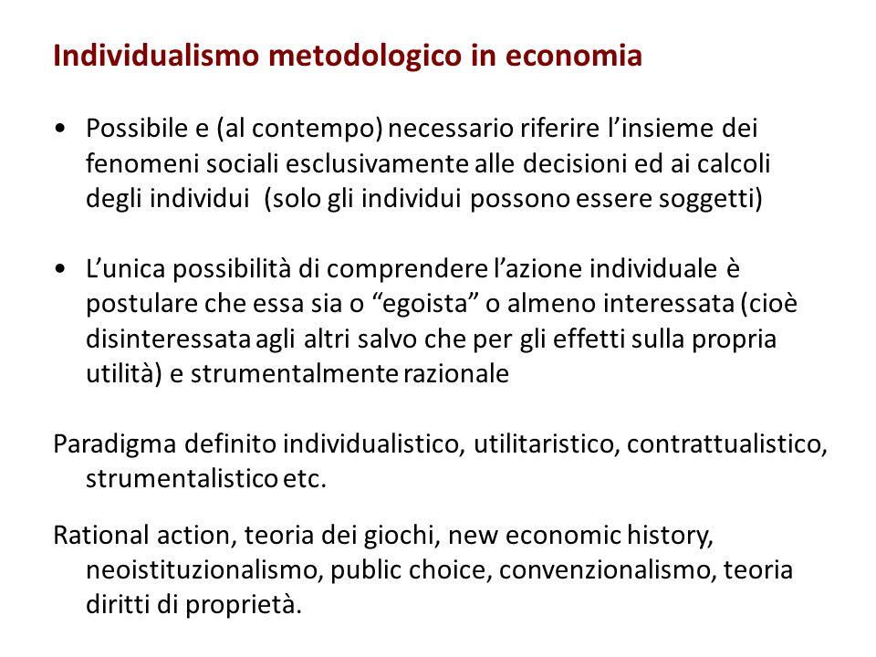 Individualismo metodologico in economia