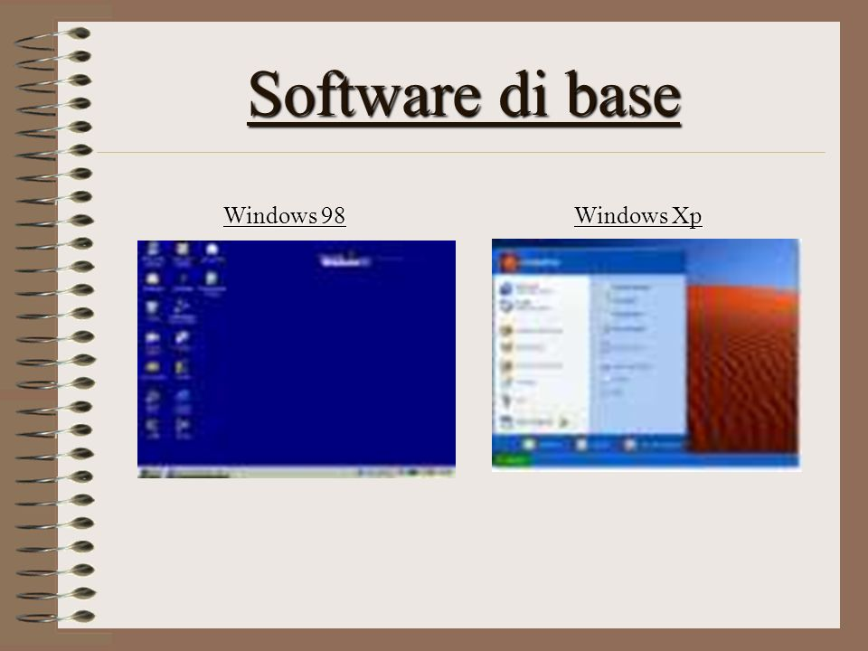 Software di base Windows 98 Windows Xp