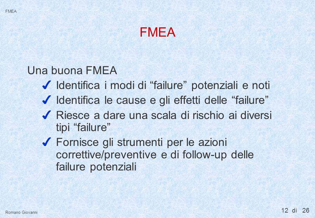 FMEA L'output più importante di una FMEA è il