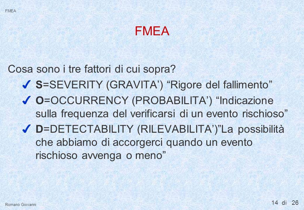 FMEA Questi tre fattori (S,O,D) sono espressi con valori compresi fra 1 e 10, quindi il valore finale di RPN sarà compreso tra 1 e 1000.