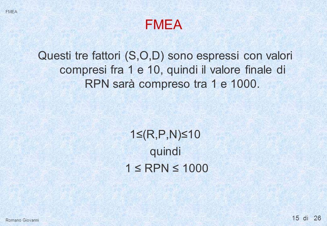 FMEA Cosa vuol dire che « S » , « O » e « D » valgono