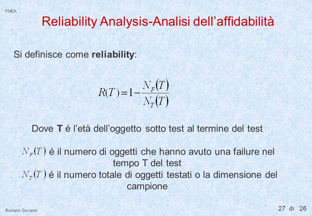 Reliability Analysis-Analisi dell'affidabilità
