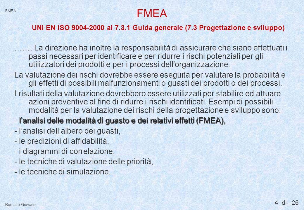 FMEA UNI EN ISO 9004-2000 al 8.5.3 Prevenzione delle perdite (8.5 Miglioramento)