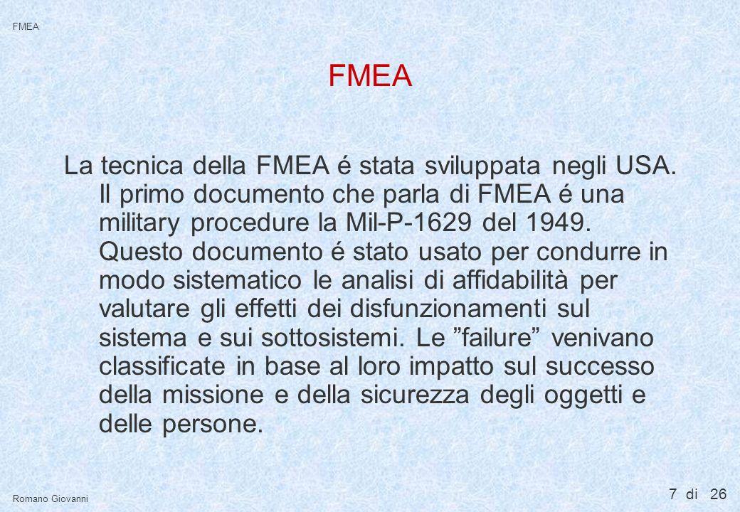 FMEA La FMEA é una tecnica dell'ingegneria utilizzata per: