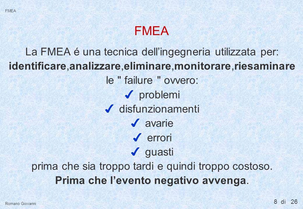 FMEA E' l'azione preventiva per eccellenza …..