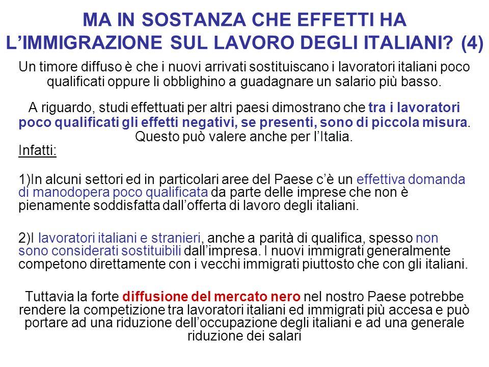 MA IN SOSTANZA CHE EFFETTI HA L'IMMIGRAZIONE SUL LAVORO DEGLI ITALIANI