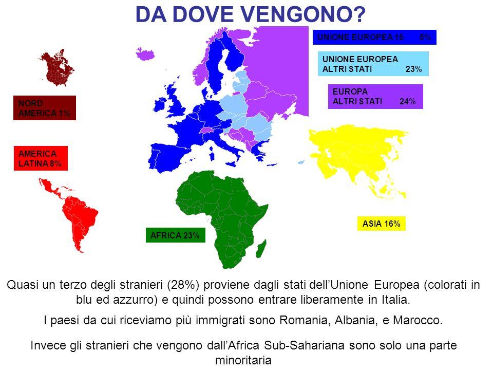 DA DOVE VENGONO UNIONE EUROPEA 15 5% UNIONE EUROPEA. ALTRI STATI 23% EUROPA.