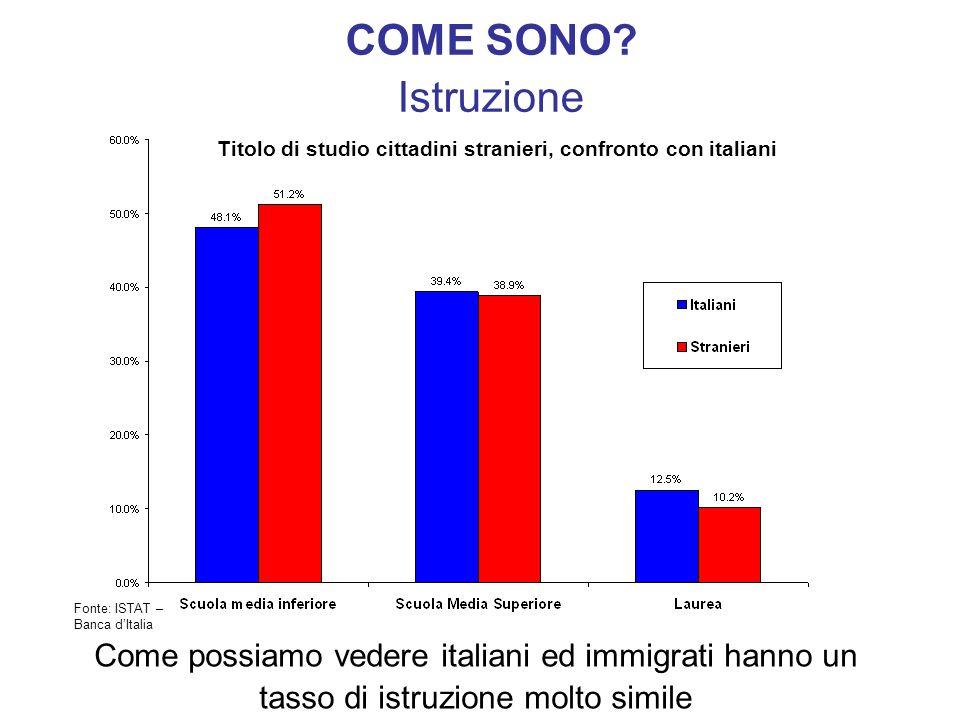 COME SONO Istruzione. Titolo di studio cittadini stranieri, confronto con italiani. Fonte: ISTAT –Banca d'Italia.