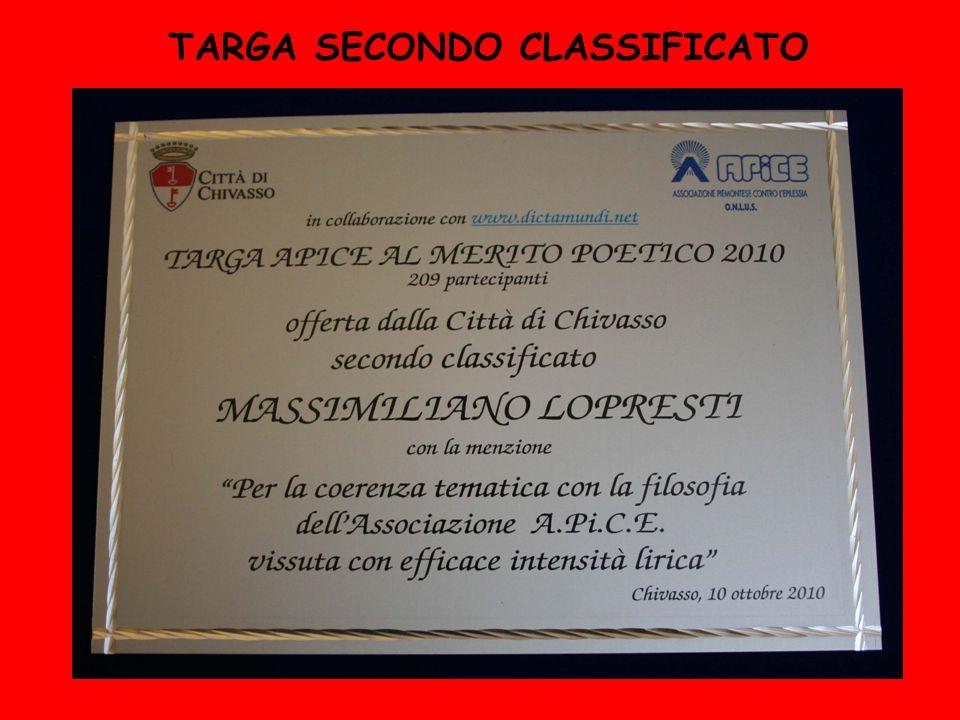 TARGA SECONDO CLASSIFICATO