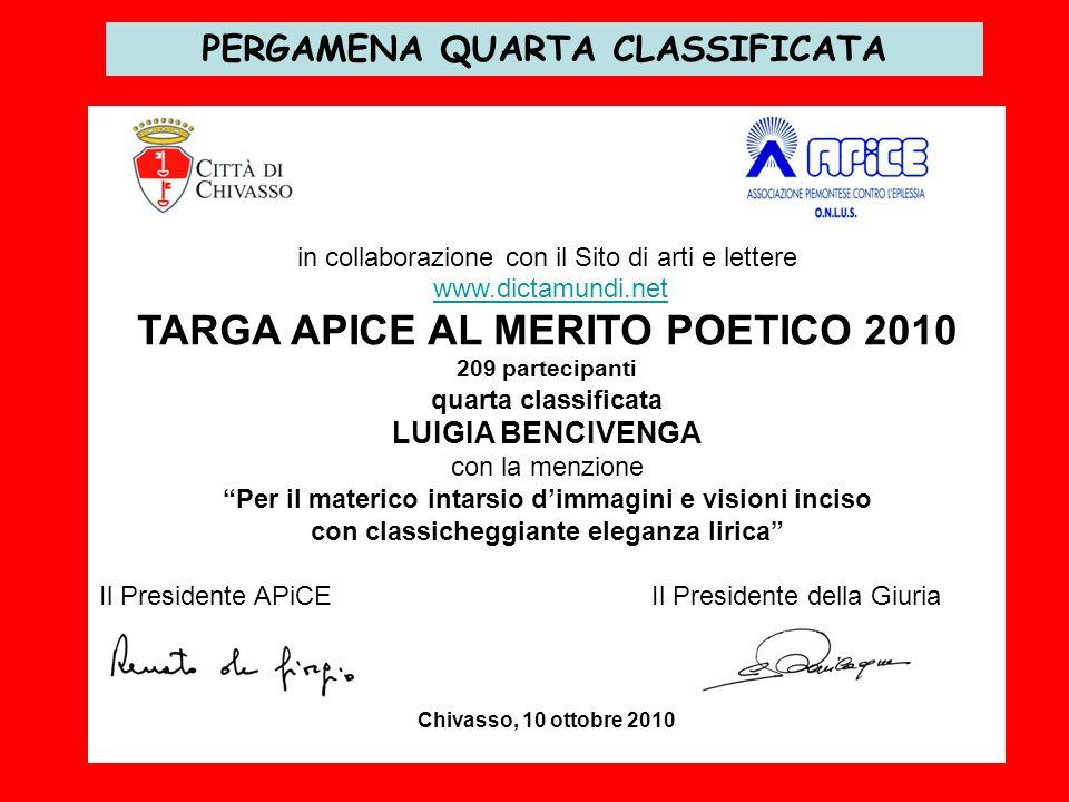 TARGA APICE AL MERITO POETICO 2010