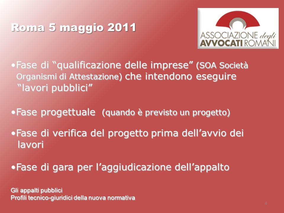 Roma 5 maggio 2011 Fase di qualificazione delle imprese (SOA Società