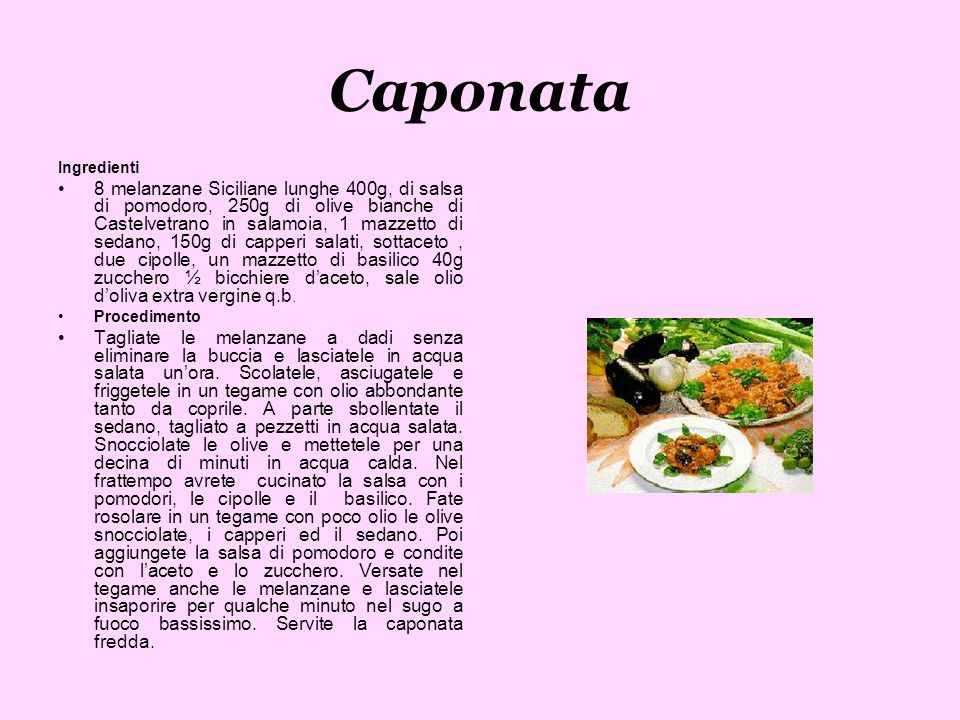 Caponata Ingredienti.
