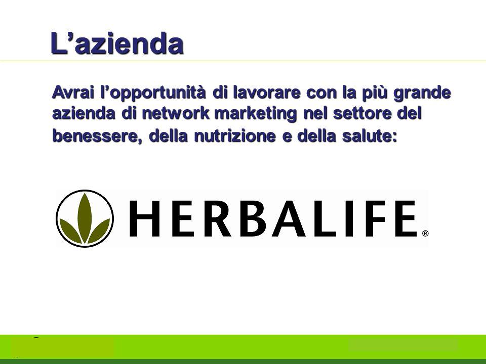 L'azienda Avrai l'opportunità di lavorare con la più grande azienda di network marketing nel settore del benessere, della nutrizione e della salute: