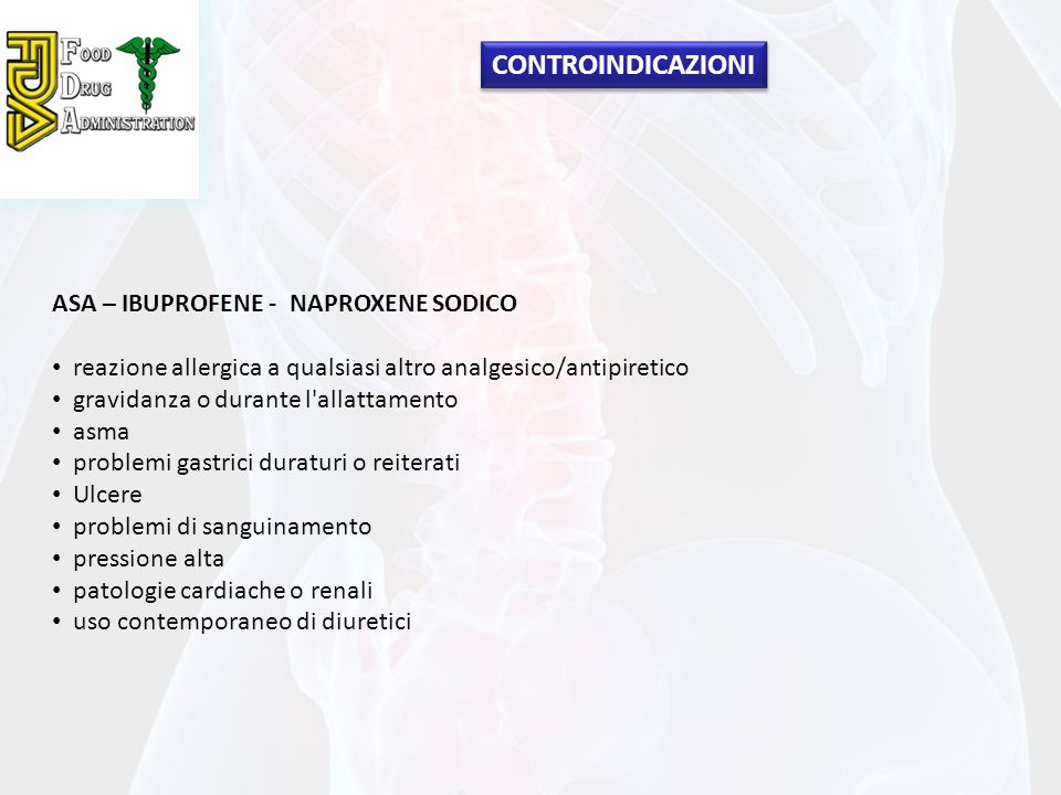 CONTROINDICAZIONI ASA – IBUPROFENE - NAPROXENE SODICO