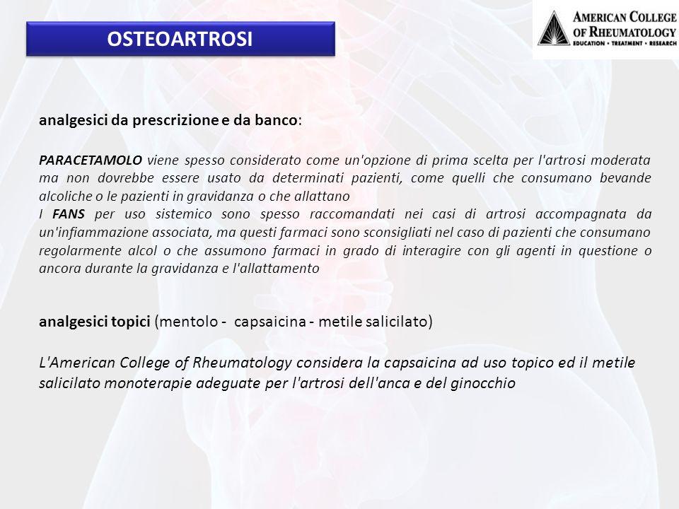 OSTEOARTROSI analgesici da prescrizione e da banco: