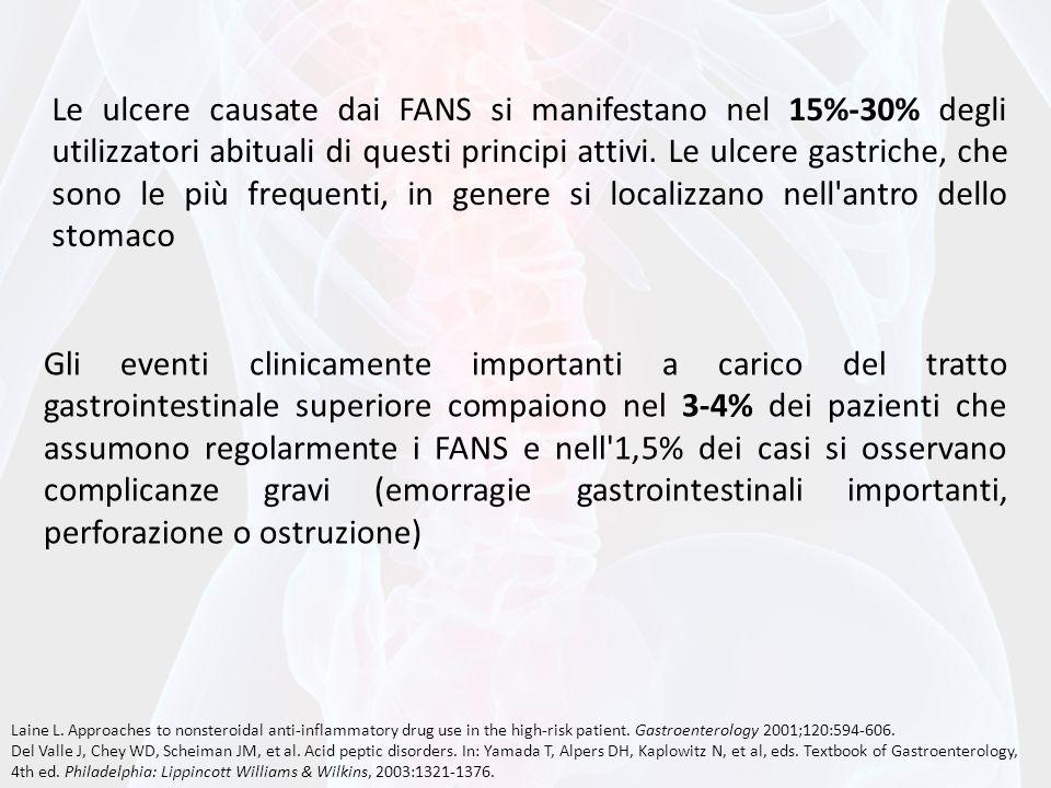 Le ulcere causate dai FANS si manifestano nel 15%-30% degli utilizzatori abituali di questi principi attivi. Le ulcere gastriche, che sono le più frequenti, in genere si localizzano nell antro dello stomaco