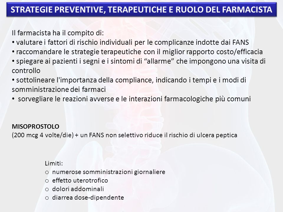 STRATEGIE PREVENTIVE, TERAPEUTICHE E RUOLO DEL FARMACISTA