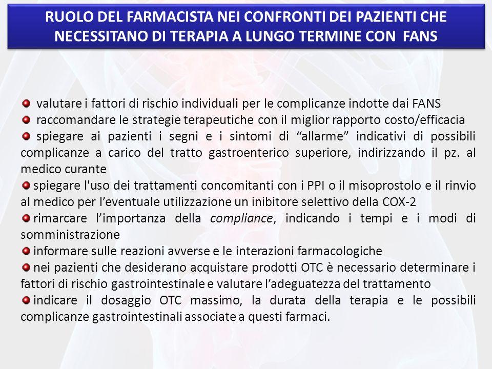 RUOLO DEL FARMACISTA NEI CONFRONTI DEI PAZIENTI CHE NECESSITANO DI TERAPIA A LUNGO TERMINE CON FANS