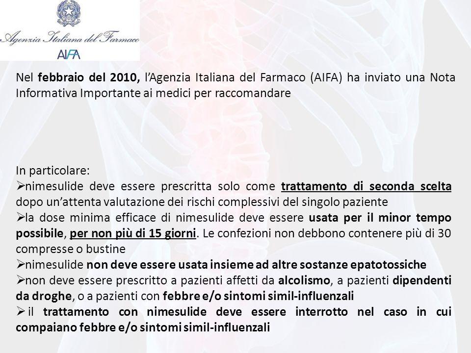 Nel febbraio del 2010, l'Agenzia Italiana del Farmaco (AIFA) ha inviato una Nota Informativa Importante ai medici per raccomandare