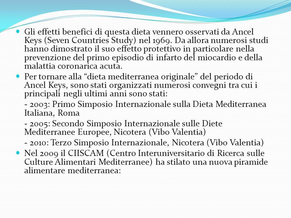 Gli effetti benefici di questa dieta vennero osservati da Ancel Keys (Seven Countries Study) nel 1969. Da allora numerosi studi hanno dimostrato il suo effetto protettivo in particolare nella prevenzione del primo episodio di infarto del miocardio e della malattia coronarica acuta.