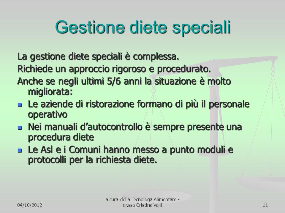 Gestione diete speciali