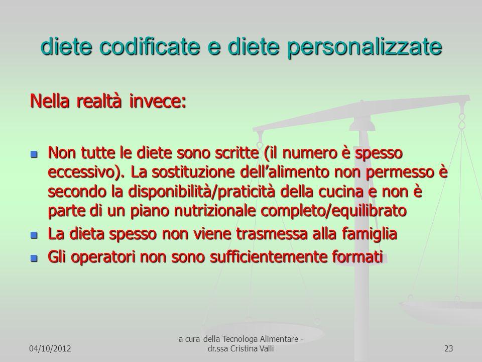 diete codificate e diete personalizzate