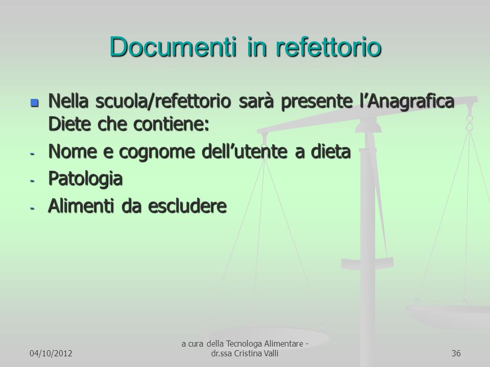 Documenti in refettorio