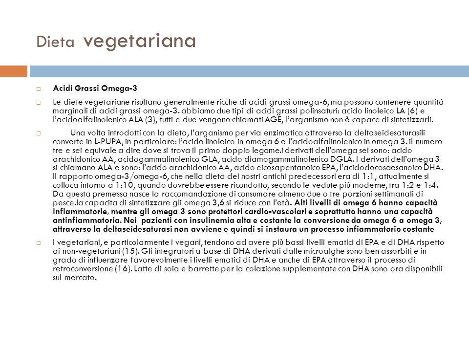 Dieta vegetariana Acidi Grassi Omega-3