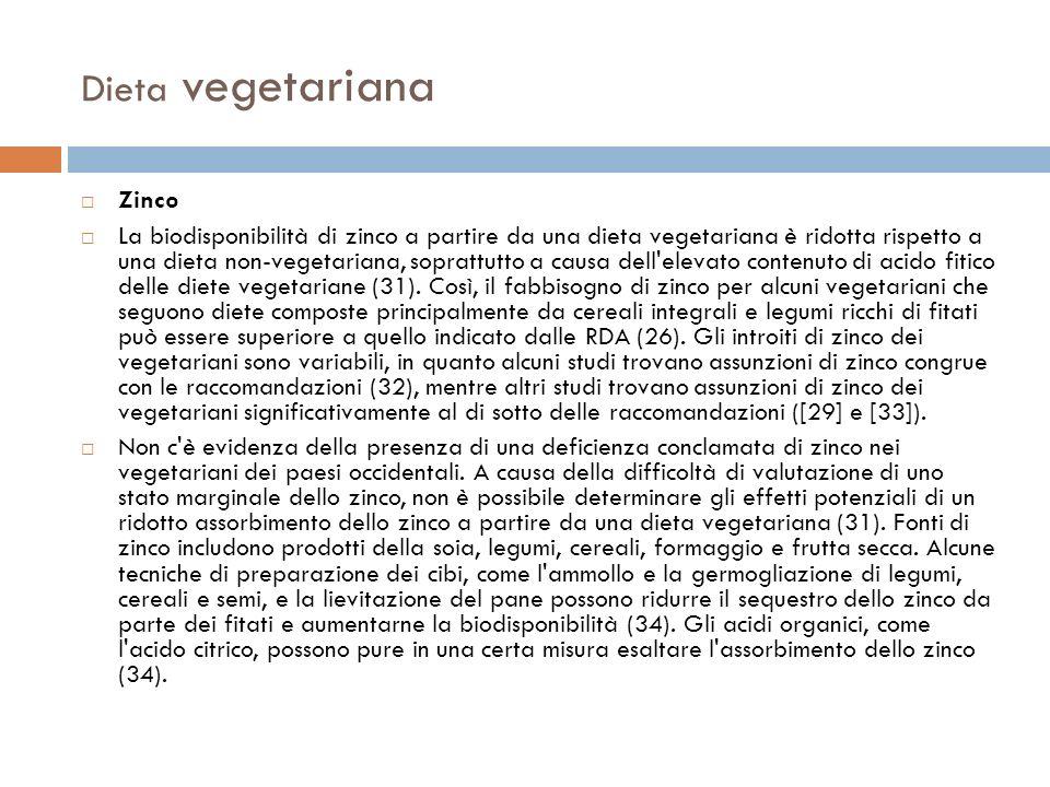 Dieta vegetariana Zinco