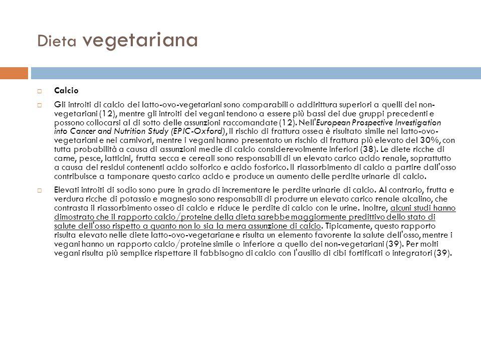Dieta vegetariana Calcio
