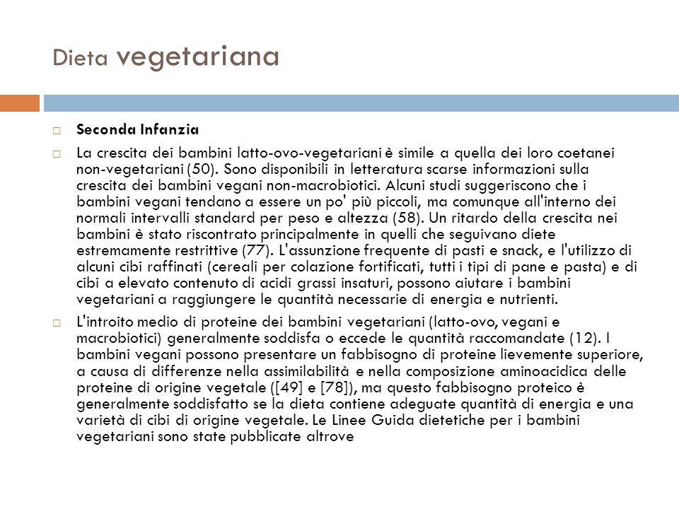 Dieta vegetariana Seconda Infanzia