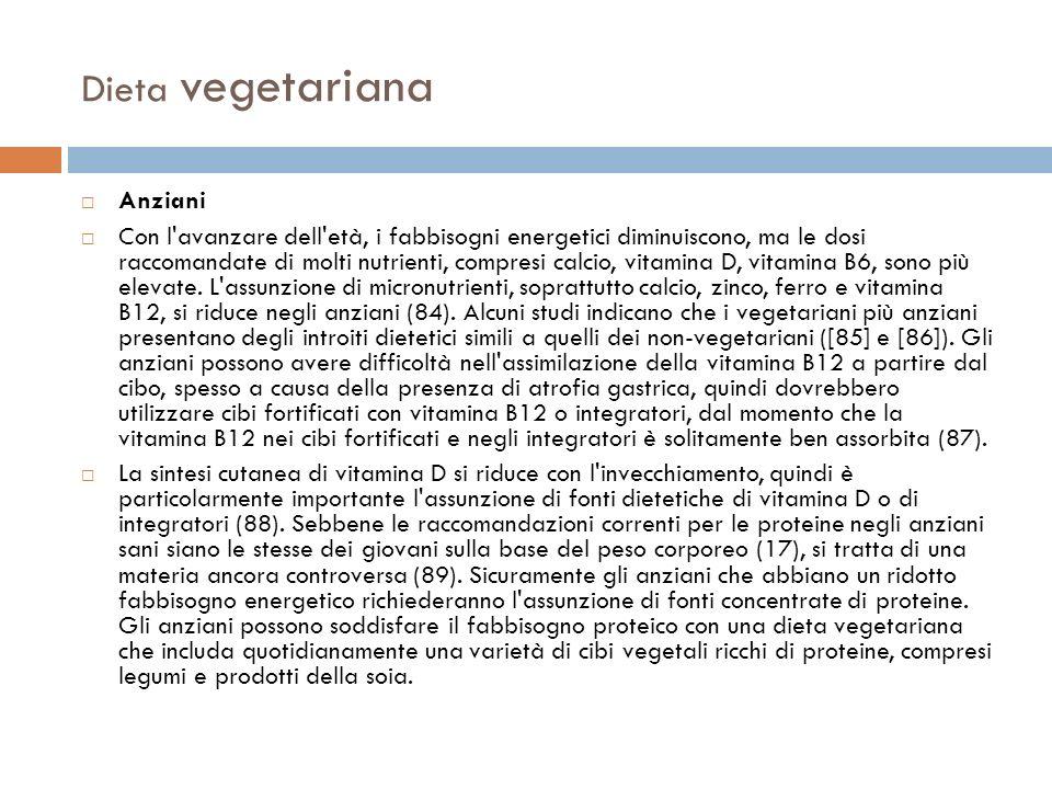 Dieta vegetariana Anziani