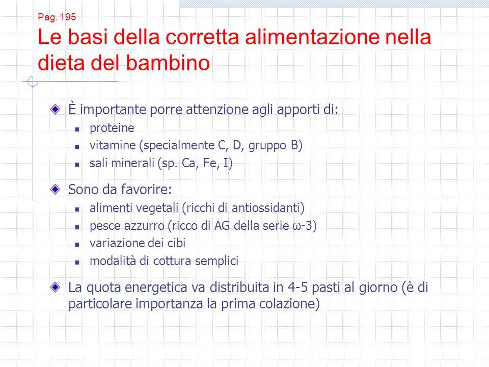 Pag. 195 Le basi della corretta alimentazione nella dieta del bambino