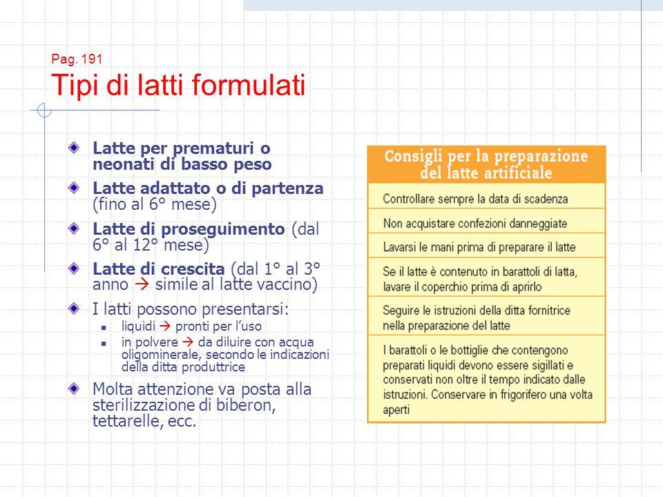 Pag. 191 Tipi di latti formulati