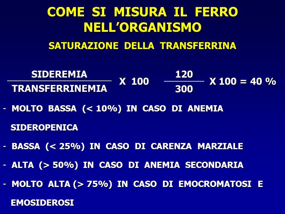 COME SI MISURA IL FERRO NELL'ORGANISMO SATURAZIONE DELLA TRANSFERRINA