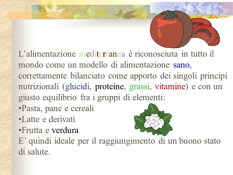 L'alimentazione mediterranea è riconosciuta in tutto il
