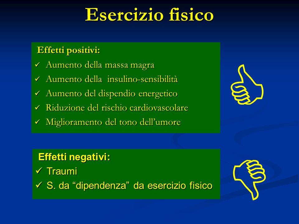   Esercizio fisico Effetti positivi: Aumento della massa magra