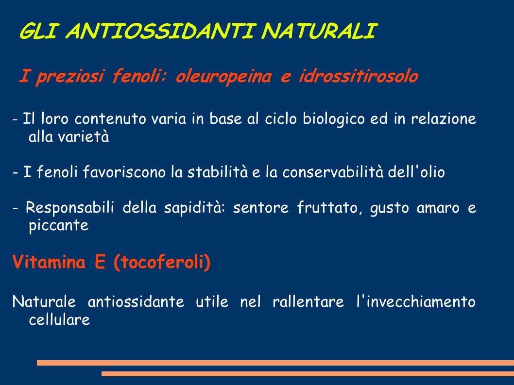 GLI ANTIOSSIDANTI NATURALI I preziosi fenoli: oleuropeina e idrossitirosolo