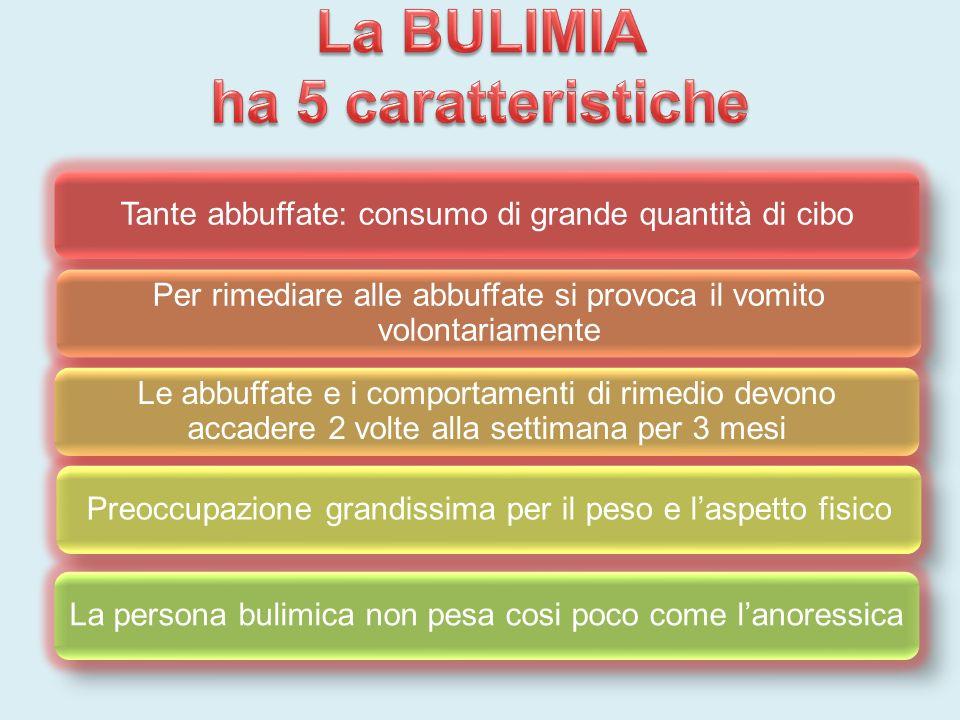La BULIMIA ha 5 caratteristiche