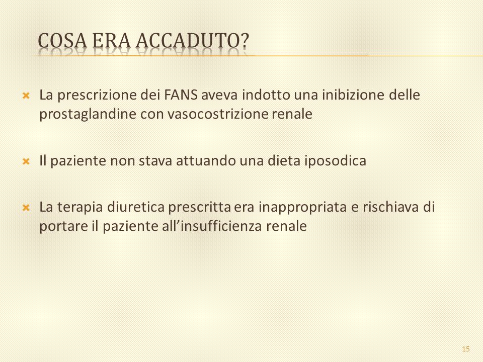 Cosa era accaduto La prescrizione dei FANS aveva indotto una inibizione delle prostaglandine con vasocostrizione renale.