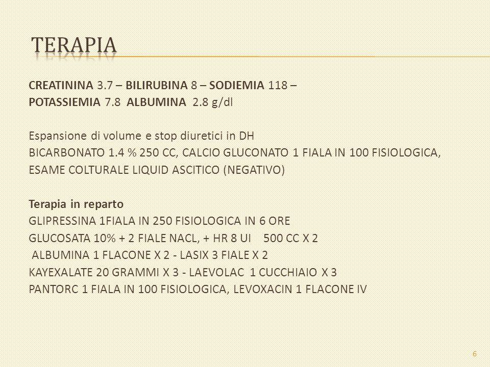 terapia CREATININA 3.7 – BILIRUBINA 8 – SODIEMIA 118 –